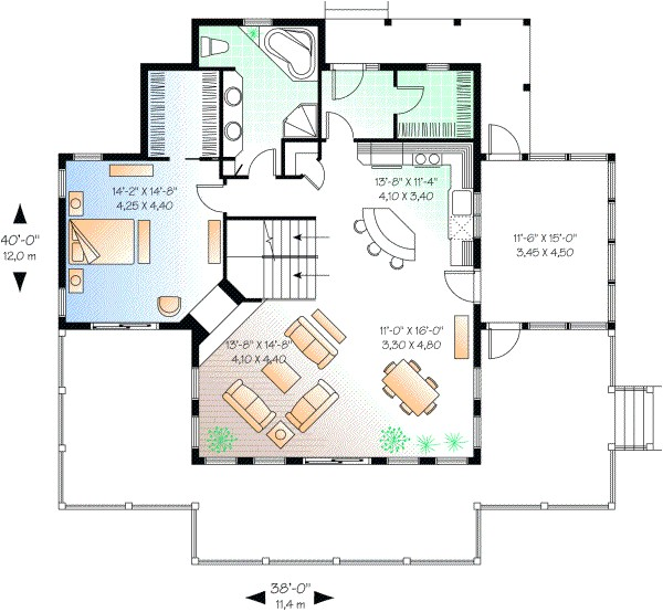 1832 sq ft home 2 story 3 bedroom 2 bath house plans plan5 745