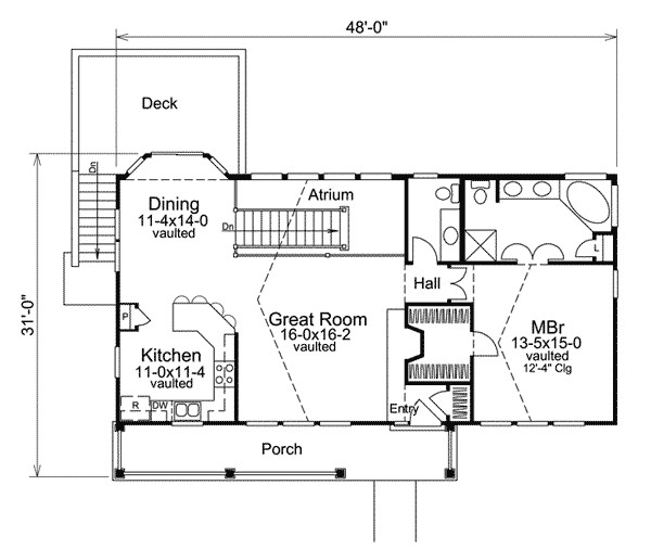 economical atrium ranch home plan 57239ha