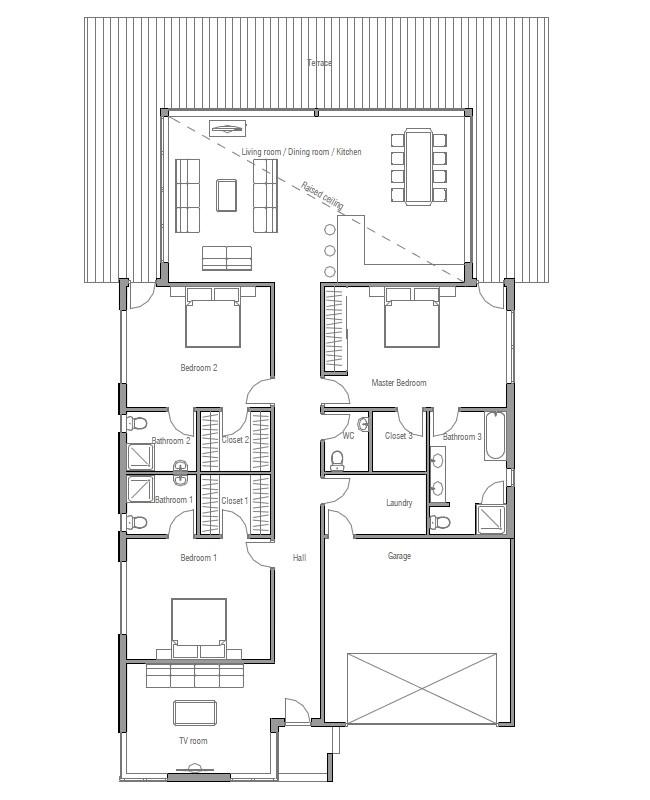 modern house plan ch147