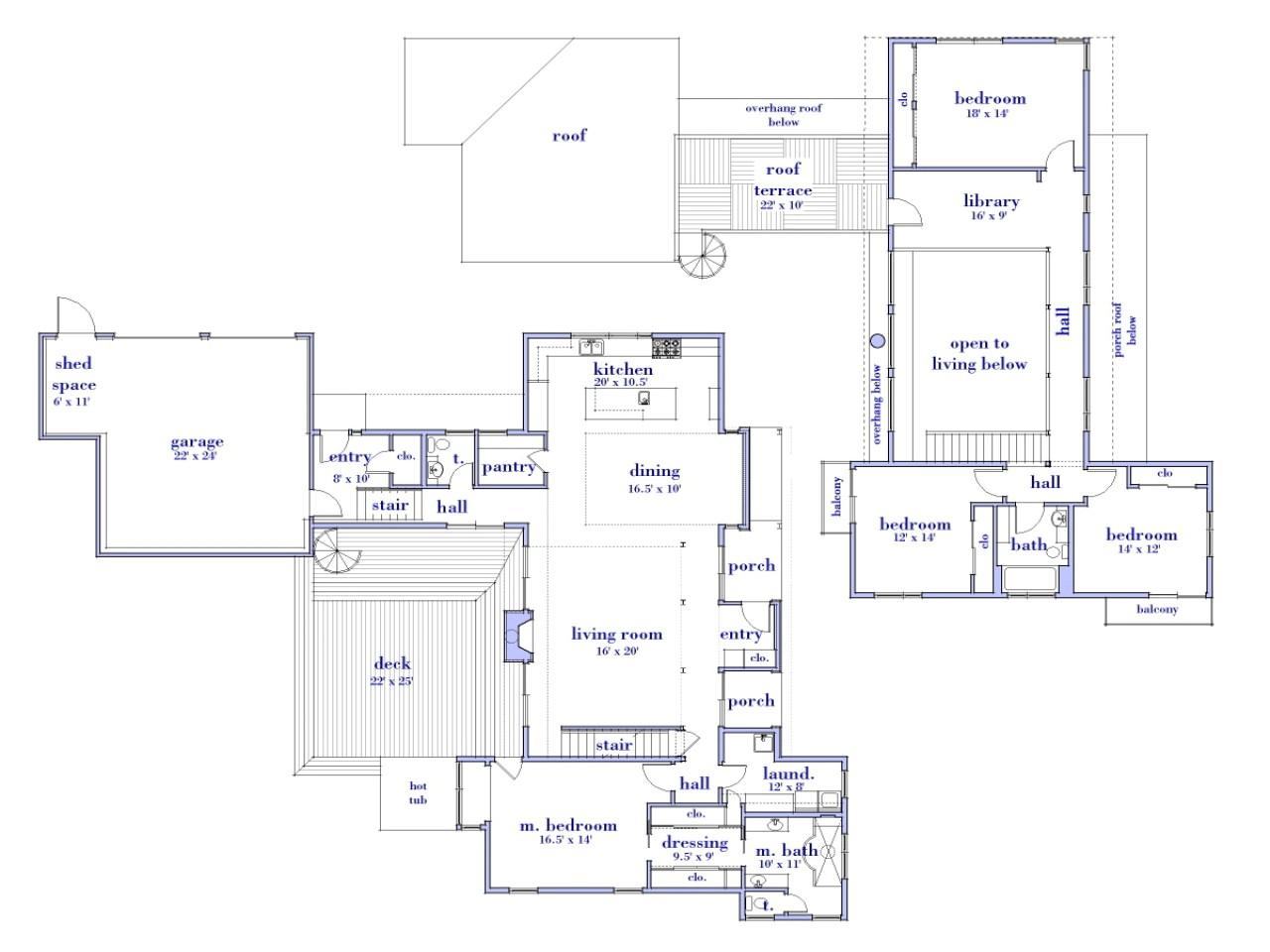 modern 2 story house floor plans