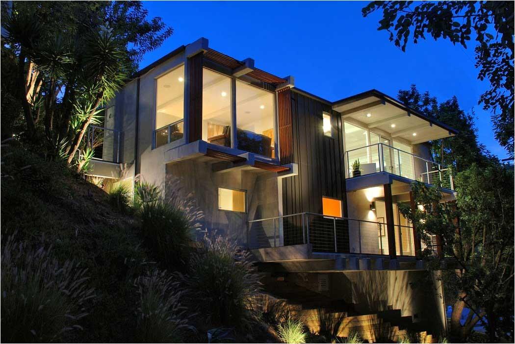 contemporary hillside homes design nigh lighting