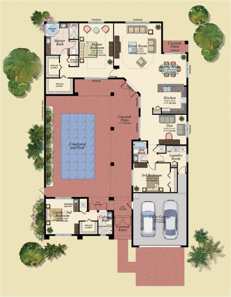 u shaped house plans with central courtyard 4 swimming pool g cltsd pertaining to floor plans for homes with pools