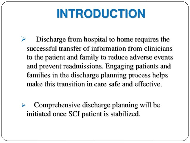 hospital discharge planning for spinal cord injured patients 50188141