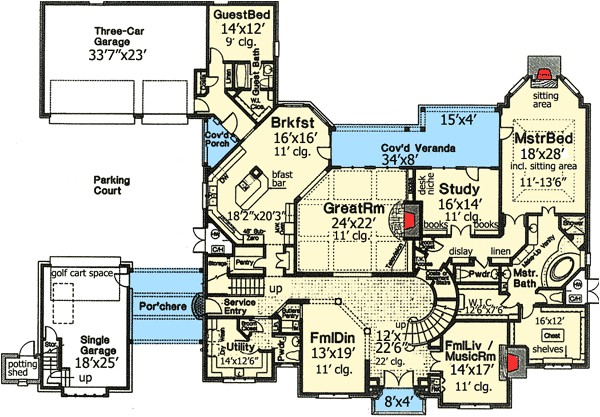 dream home plan with three staircases 48266fm