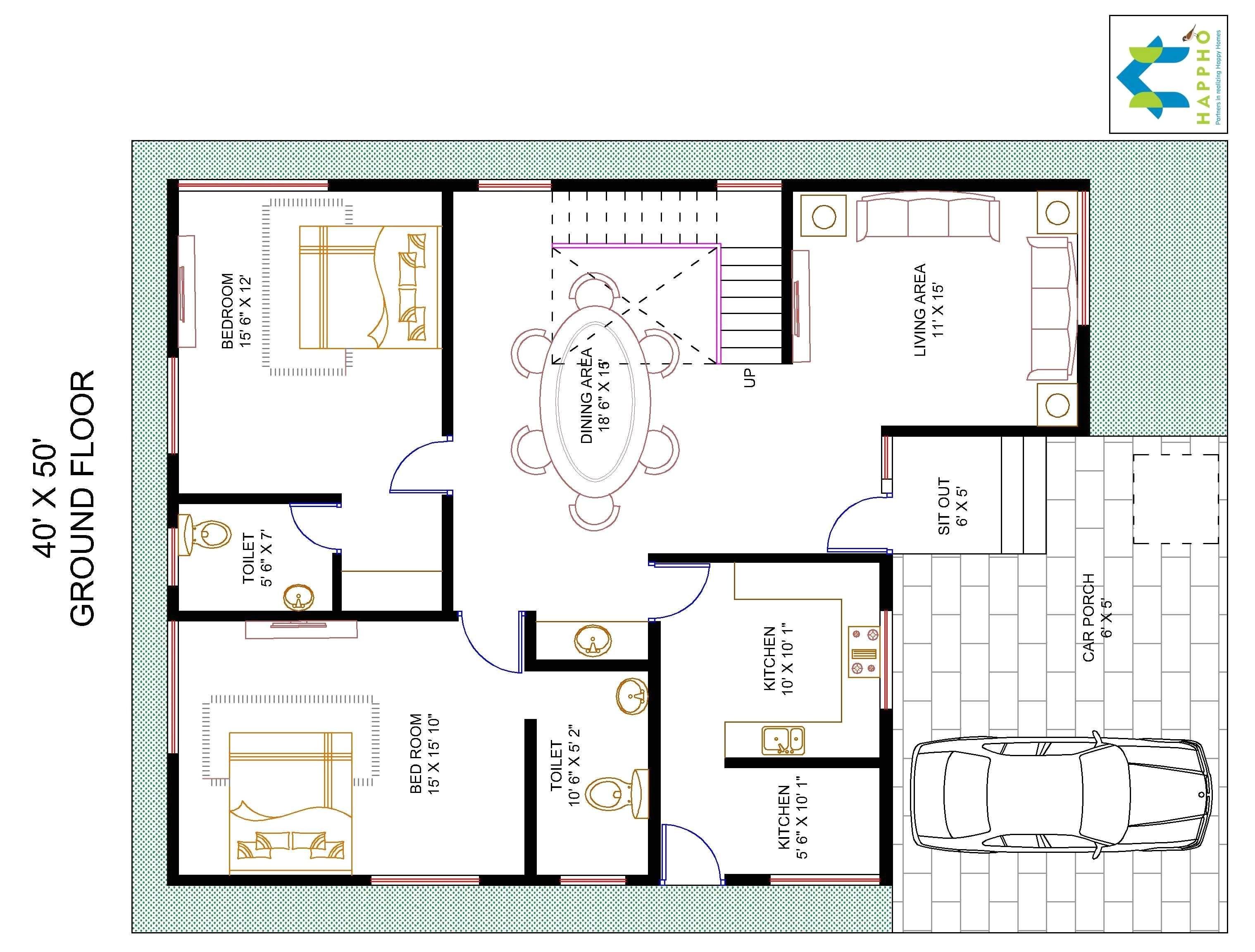 Duplex House Plans 40×50 Site House Plans for 40 X 50 Site Escortsea