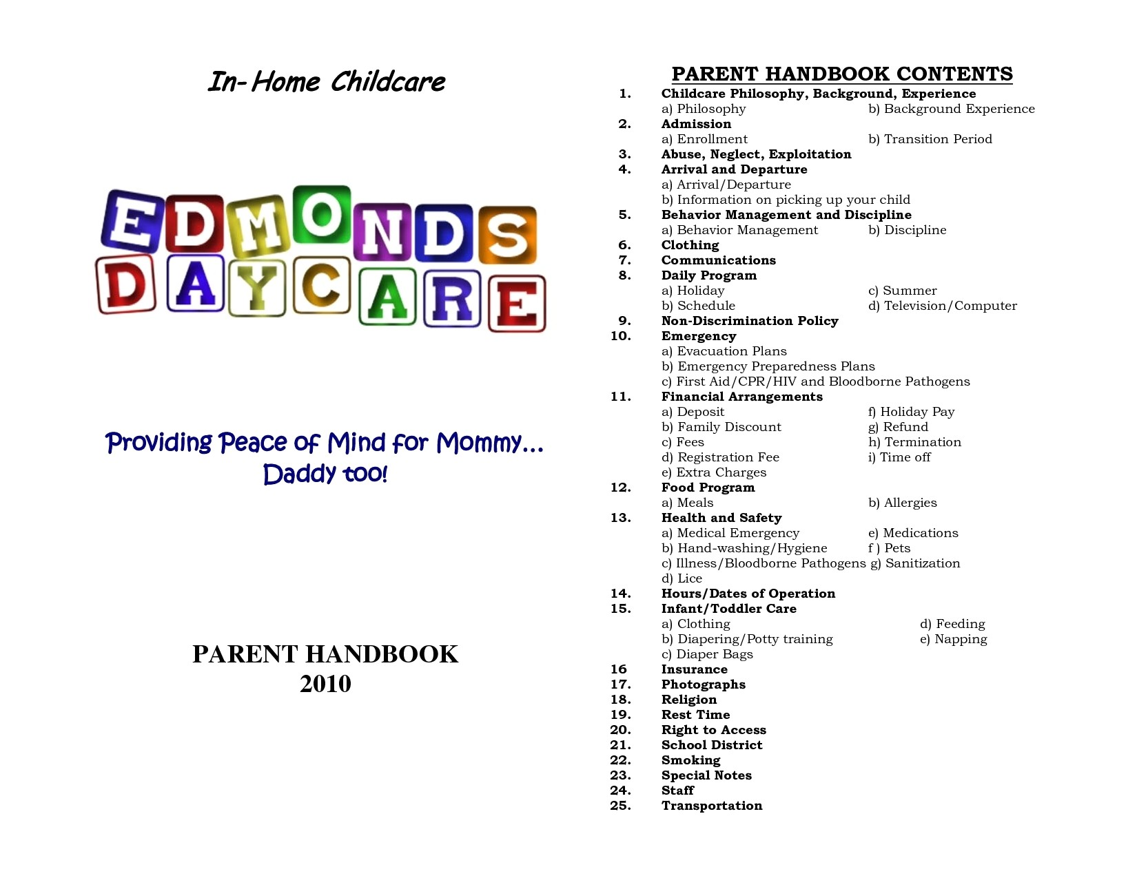 child care emergency preparedness plan template