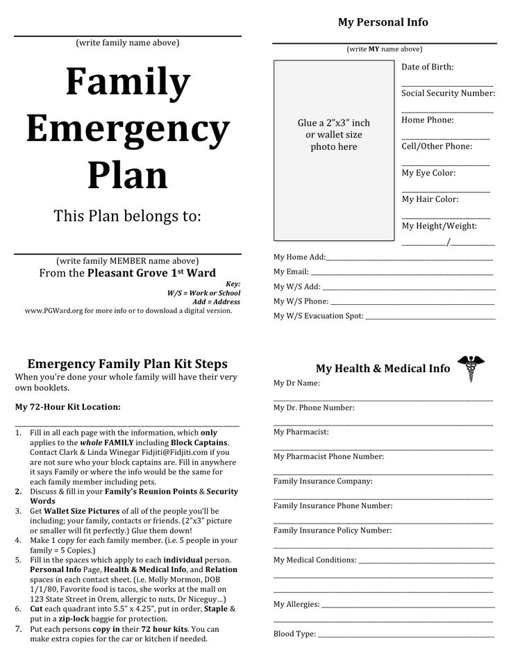 emergency preparedness plan template for daycare