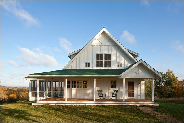 unique farmhouse for mid size family w porch plans available
