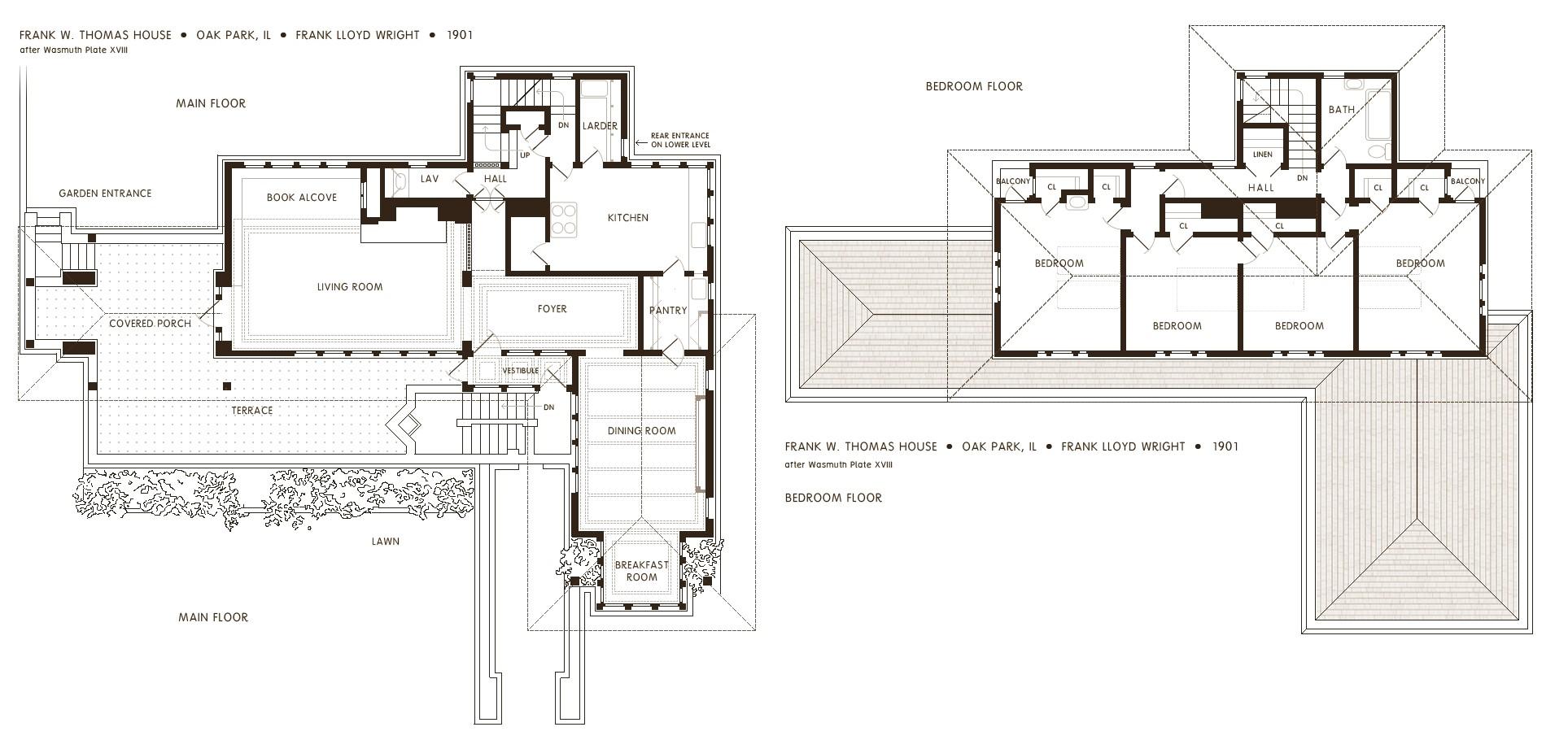 frank lloyd wright robie house floor plans oak