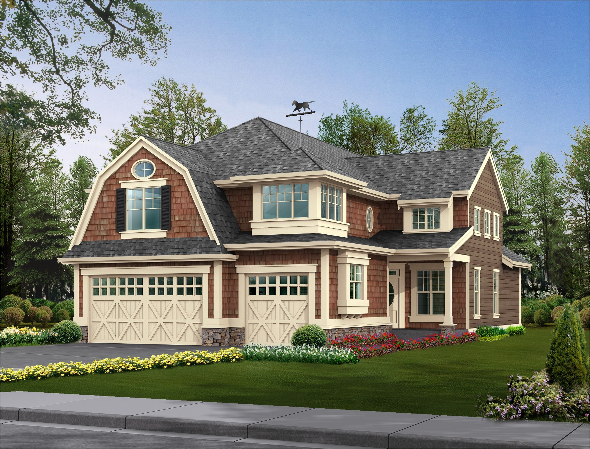 Gambrel home plans 20 examples of homes with gambrel roofs for 20 by 20 house plan