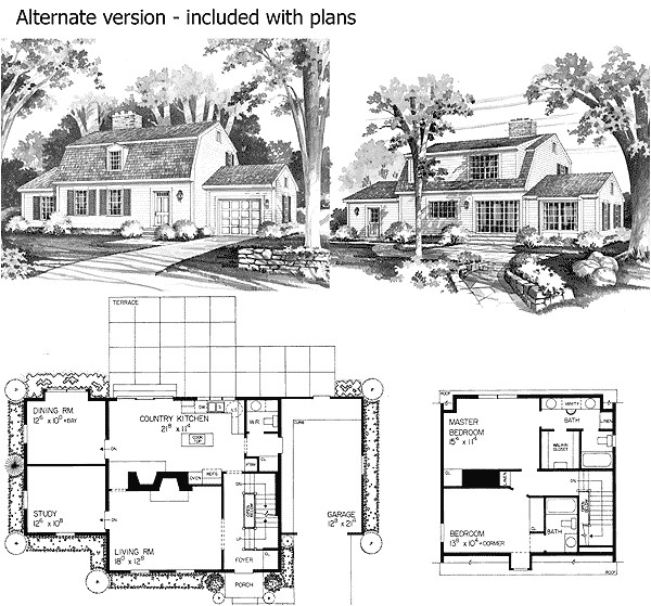 charming gambrel colonial in two versions 81136w