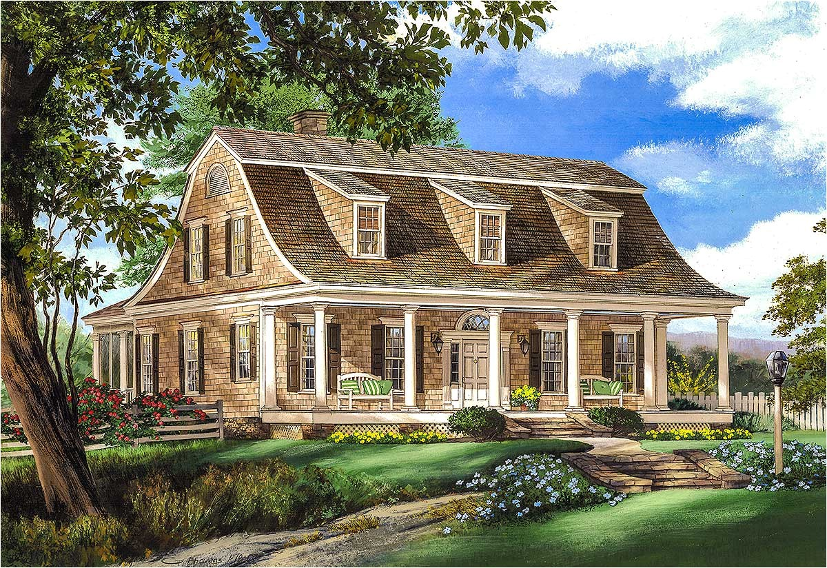 gambrel house plan with 2 stairs 32629wp