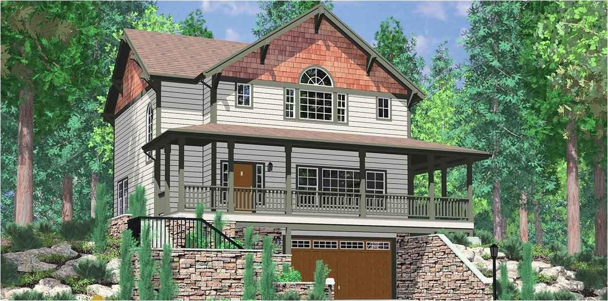 awesome hillside house plans garage underneath