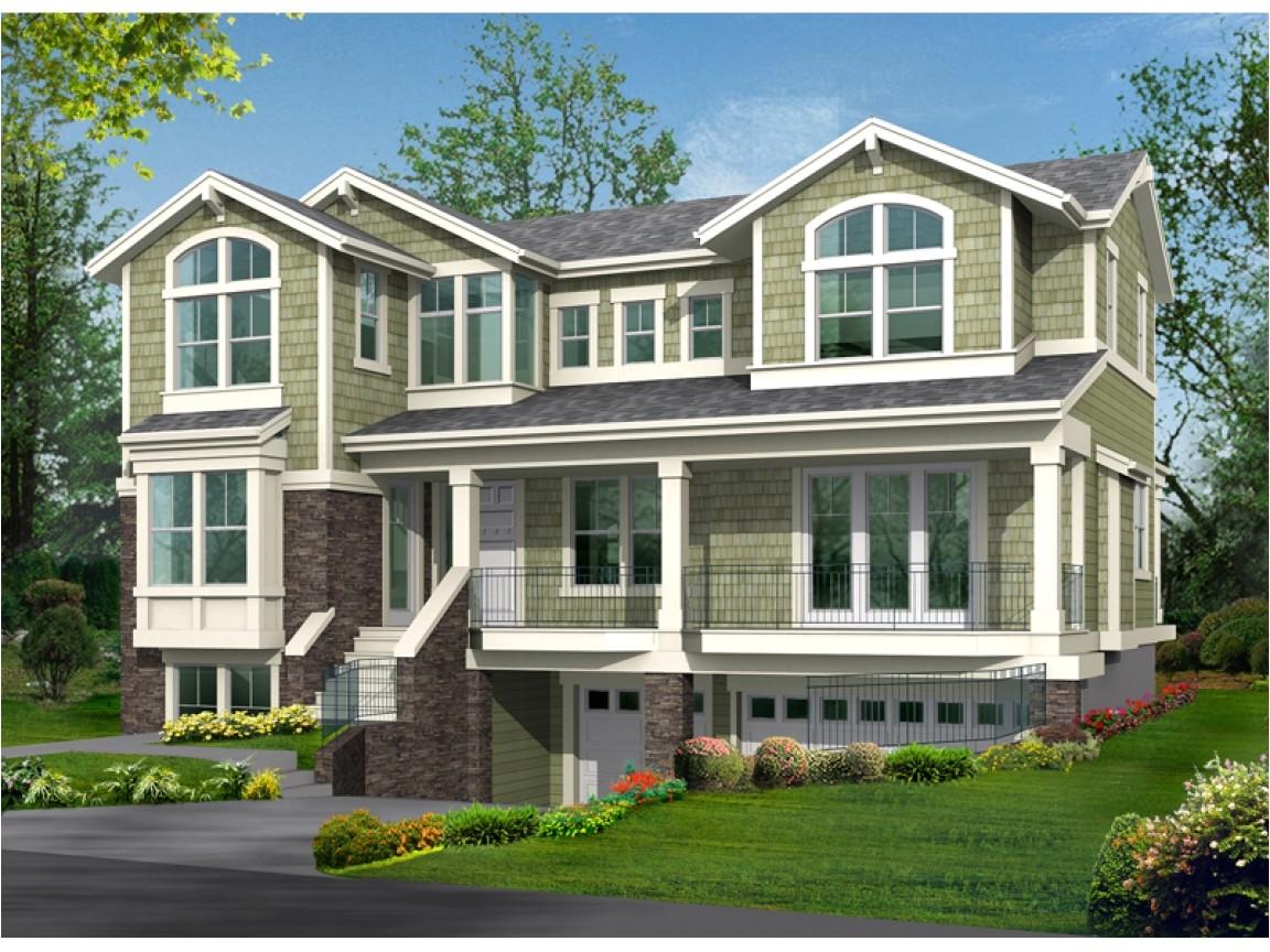 hillside house plans with garage underneath