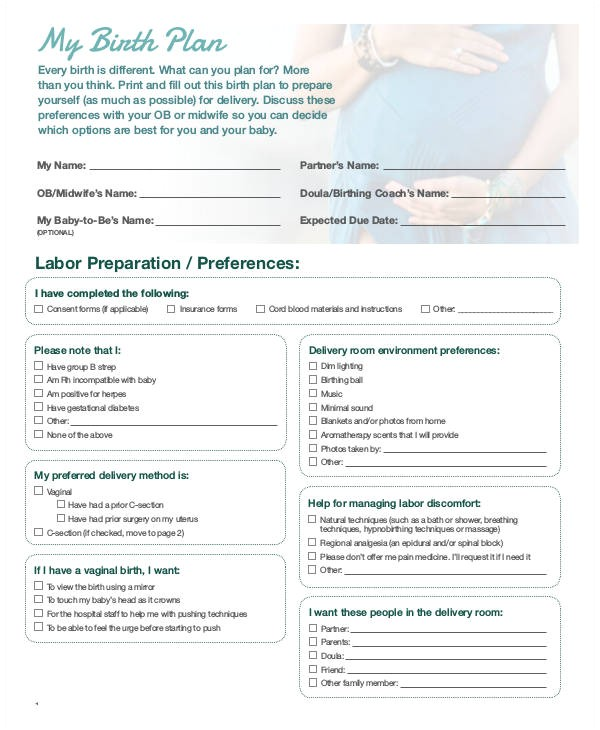 birth plan templates