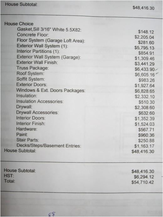 estimate for house construction