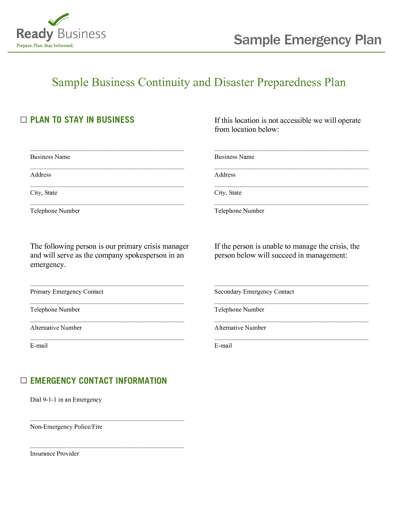 post emergency preparedness plan sample 295882