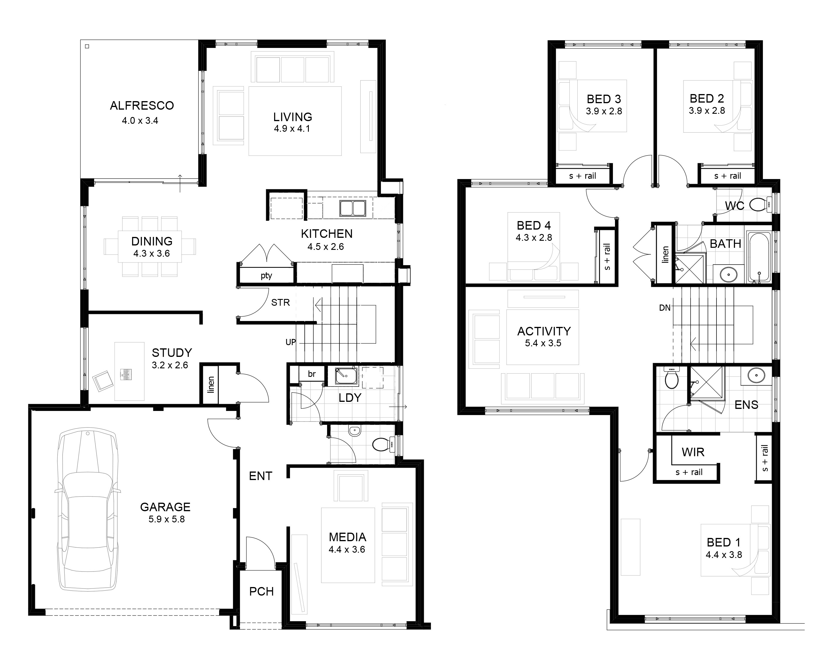 2 storey house floor plan with perspective 2