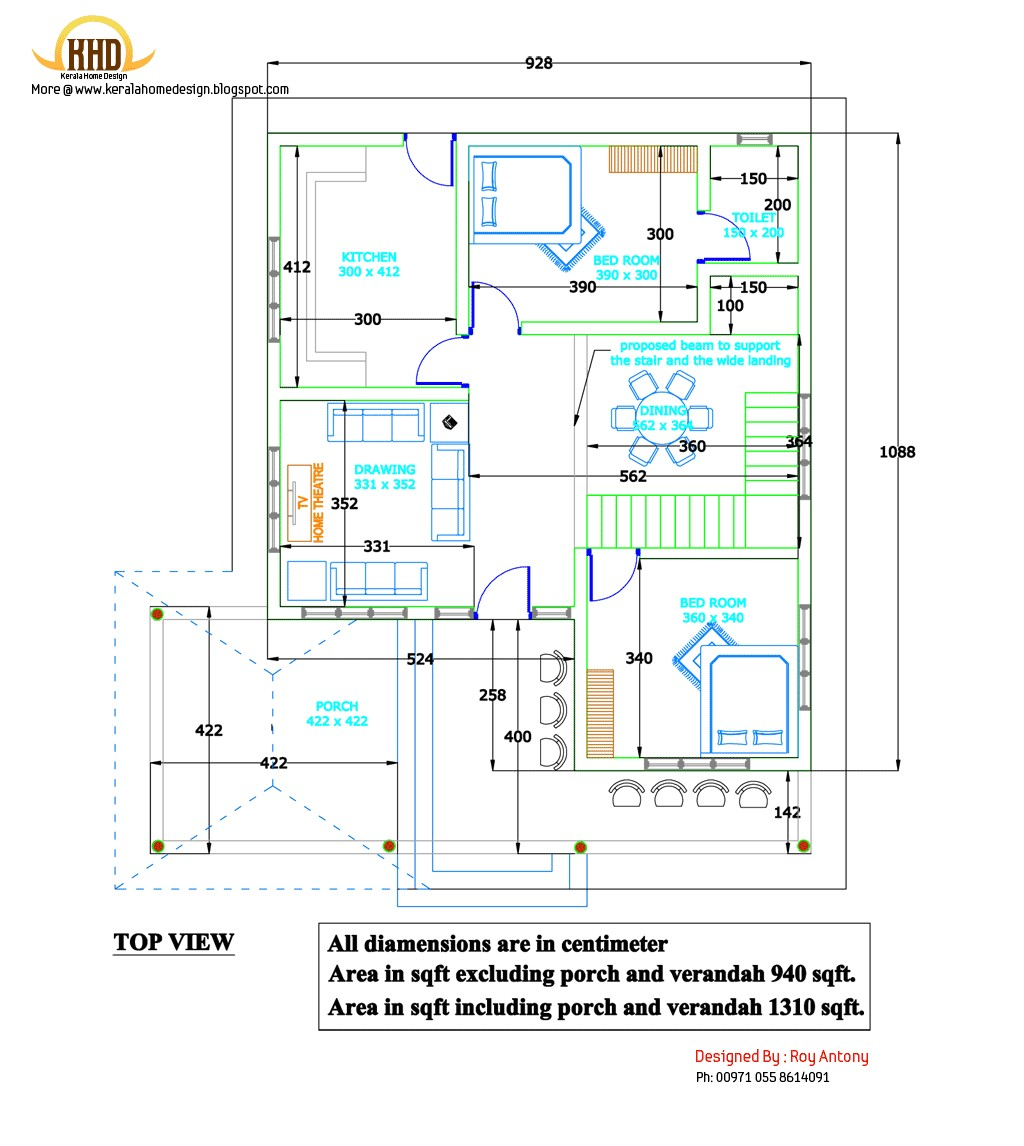 Home Engineering Plan 2d House Plan Sloping Squared Roof Kerala Home Design