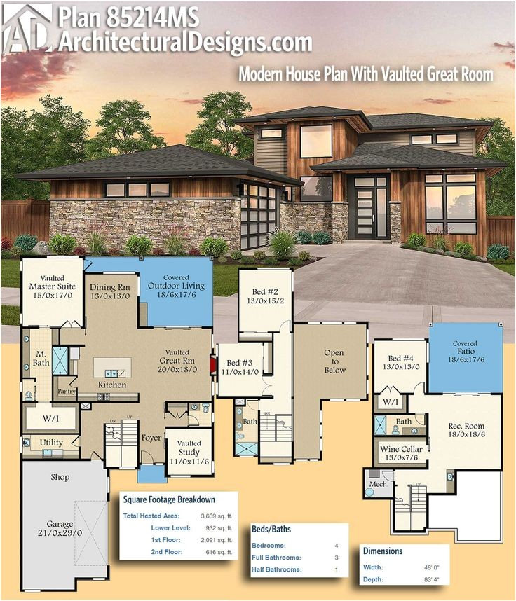 modern house plans architectural designs modern house plan 85214ms gives you 4 beds and over 3600