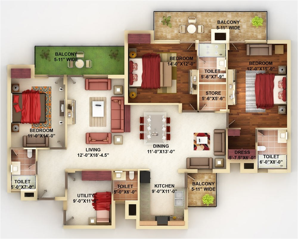 4 bedroom apartment house floor plans