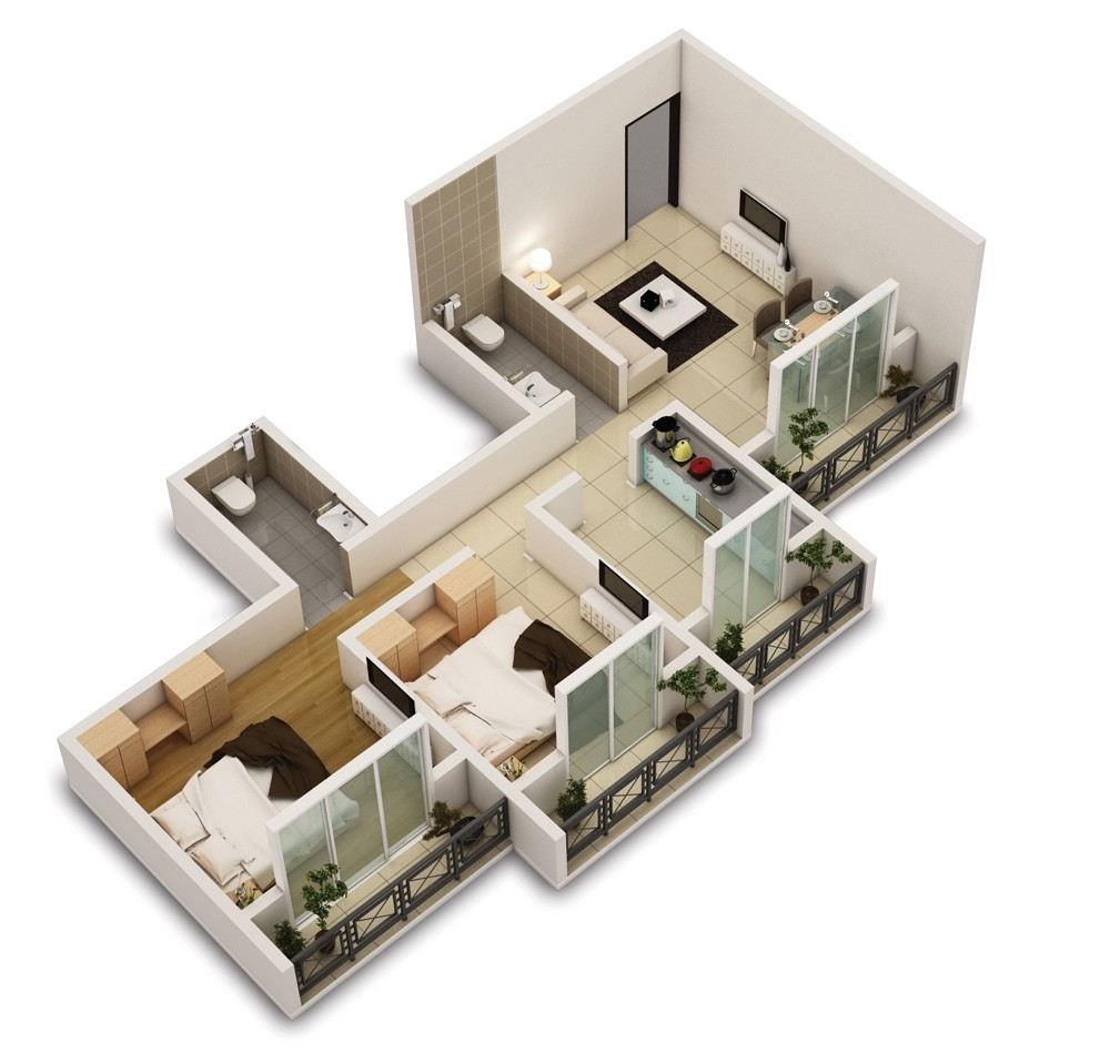 25 two bedroom houseapartment floor plans