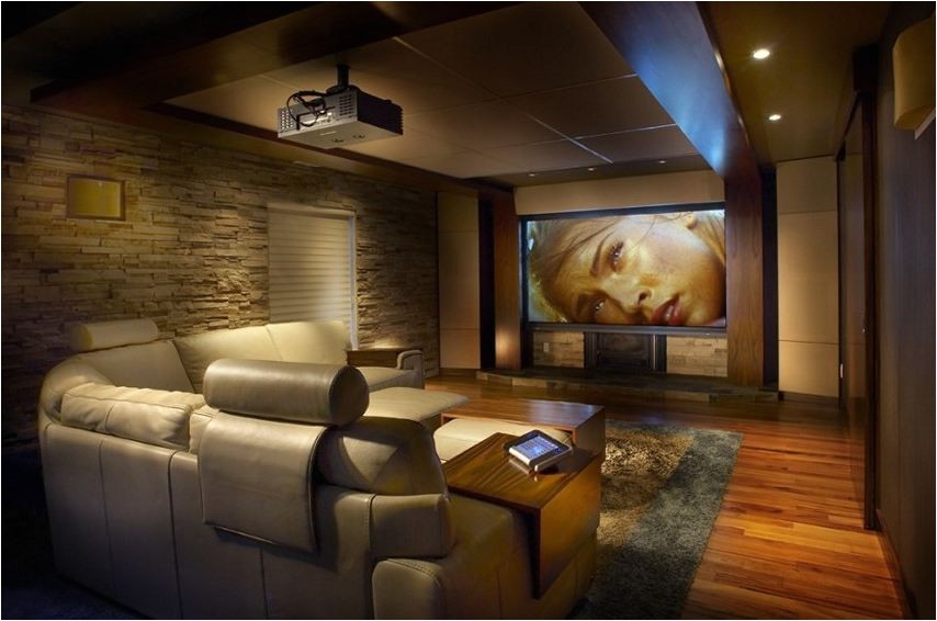 small home theater room ideas interior home design home theatre black leather sectional sofa set cool glass wall lamp big screen on the soft grey wall color black long table bar