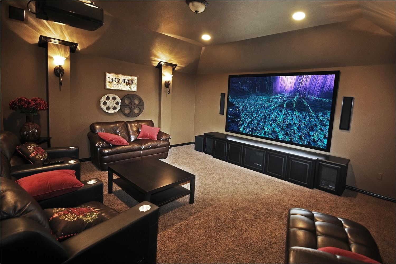 small home theater room ideas red color curve shape sofas rectangle shape bars table long table bar interior brown wall color cone wall mount lamp