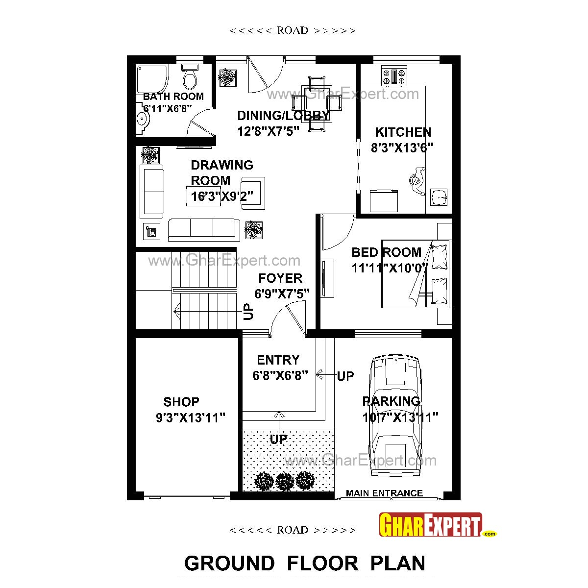 plan for 30 feet by 40 feet plot plot size 133 square yards plan code 1613