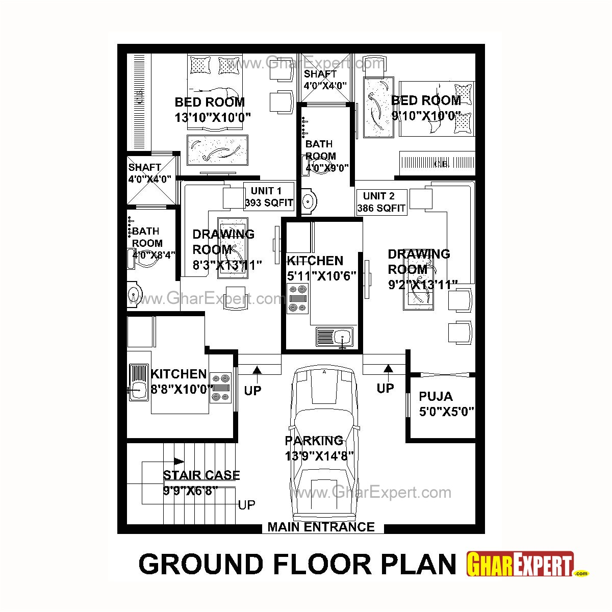 plan for 30 feet by 40 feet plot plot size 133 square yards plan code 1586