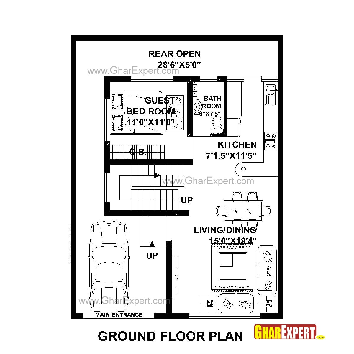 plan for 30 feet by 40 feet plot plot size 133 square yards plan code 1464