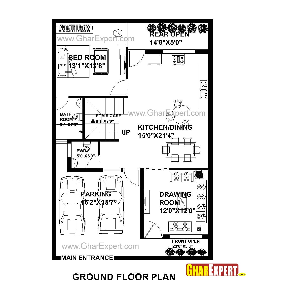 plan for 30 feet by 45 feet plot plot size 150 square yards plan code 1610