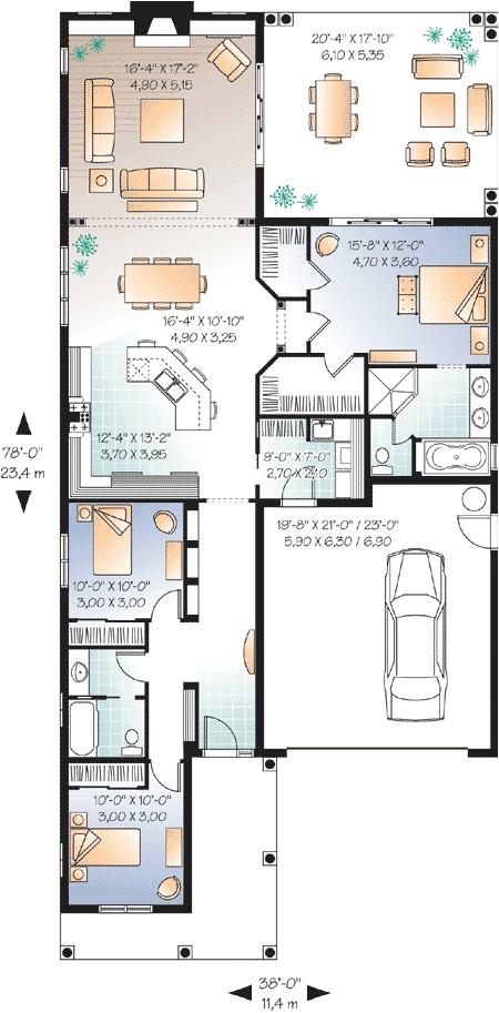 narrow lot florida house plan 21650dr