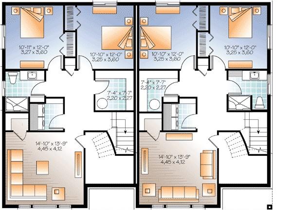 House Plans for Two Family Home Sleek Modern Multi Family House Plan 22330dr