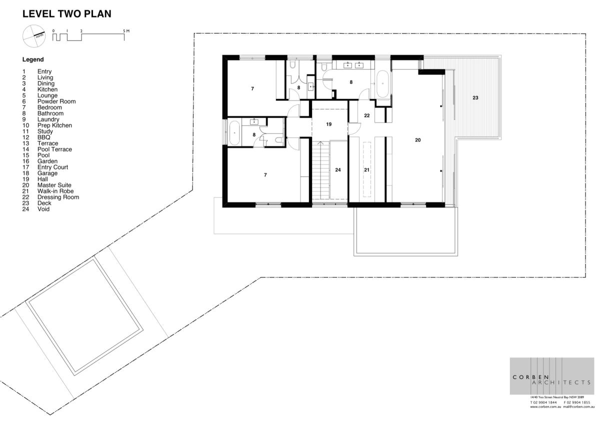 second floor plan of contemporary house design with outstanding water views