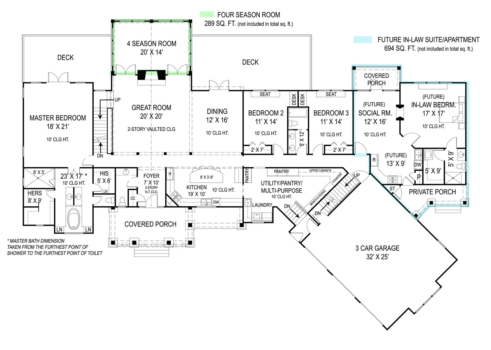 House Plans with Inlaw Suite On First Floor Pepperwood 9020 3 Bedrooms and 2 Baths the House Designers