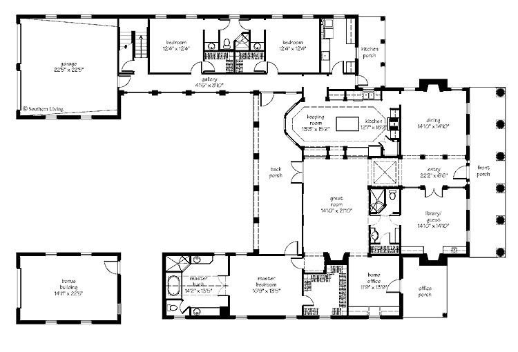 courtyard home plan houses plans designs 3