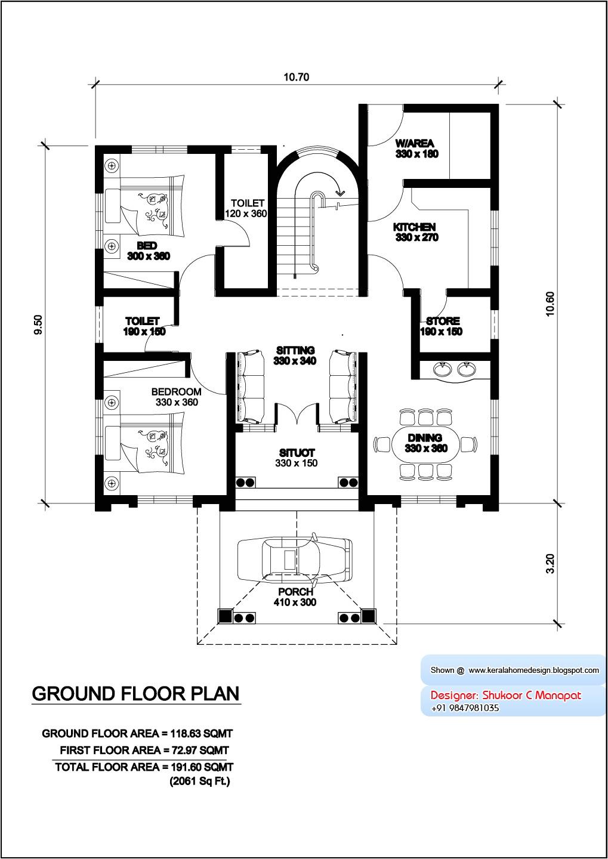 kerala villa plan and elevation 2061 sq
