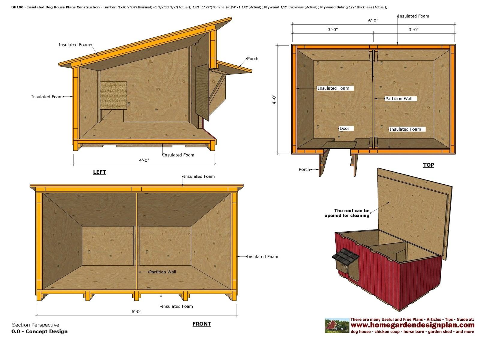 dh100 insulated dog house plans dog