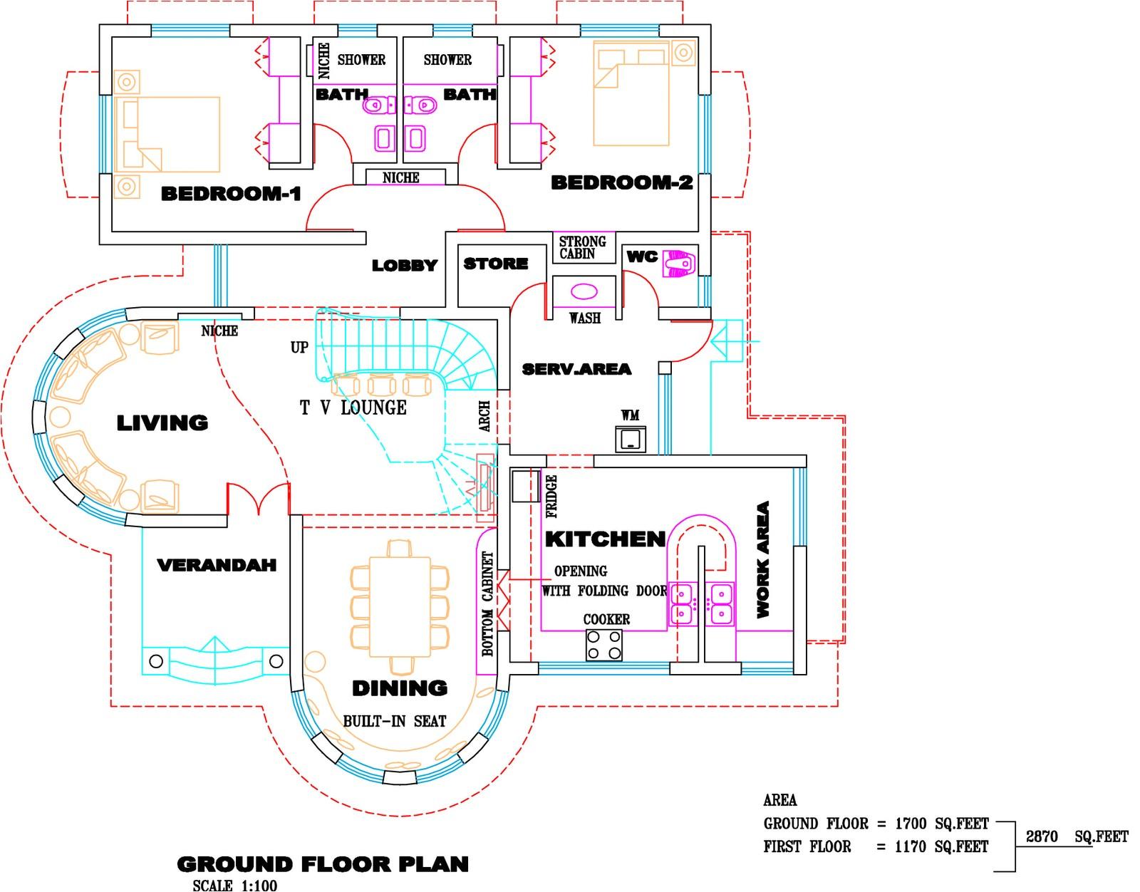 kerala villa plan and elevation