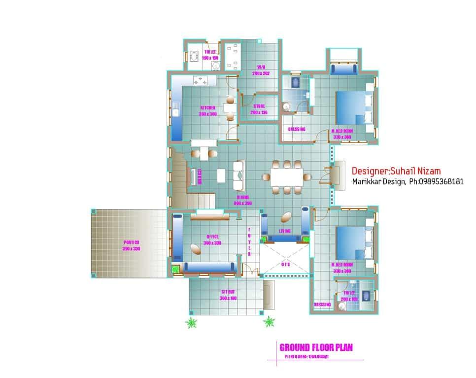 modern kerala house plan 2700