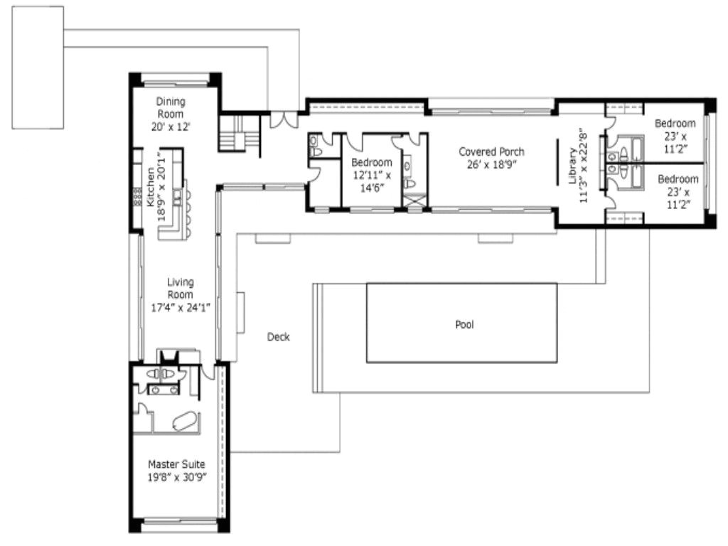 l shaped floor plans with courtyard