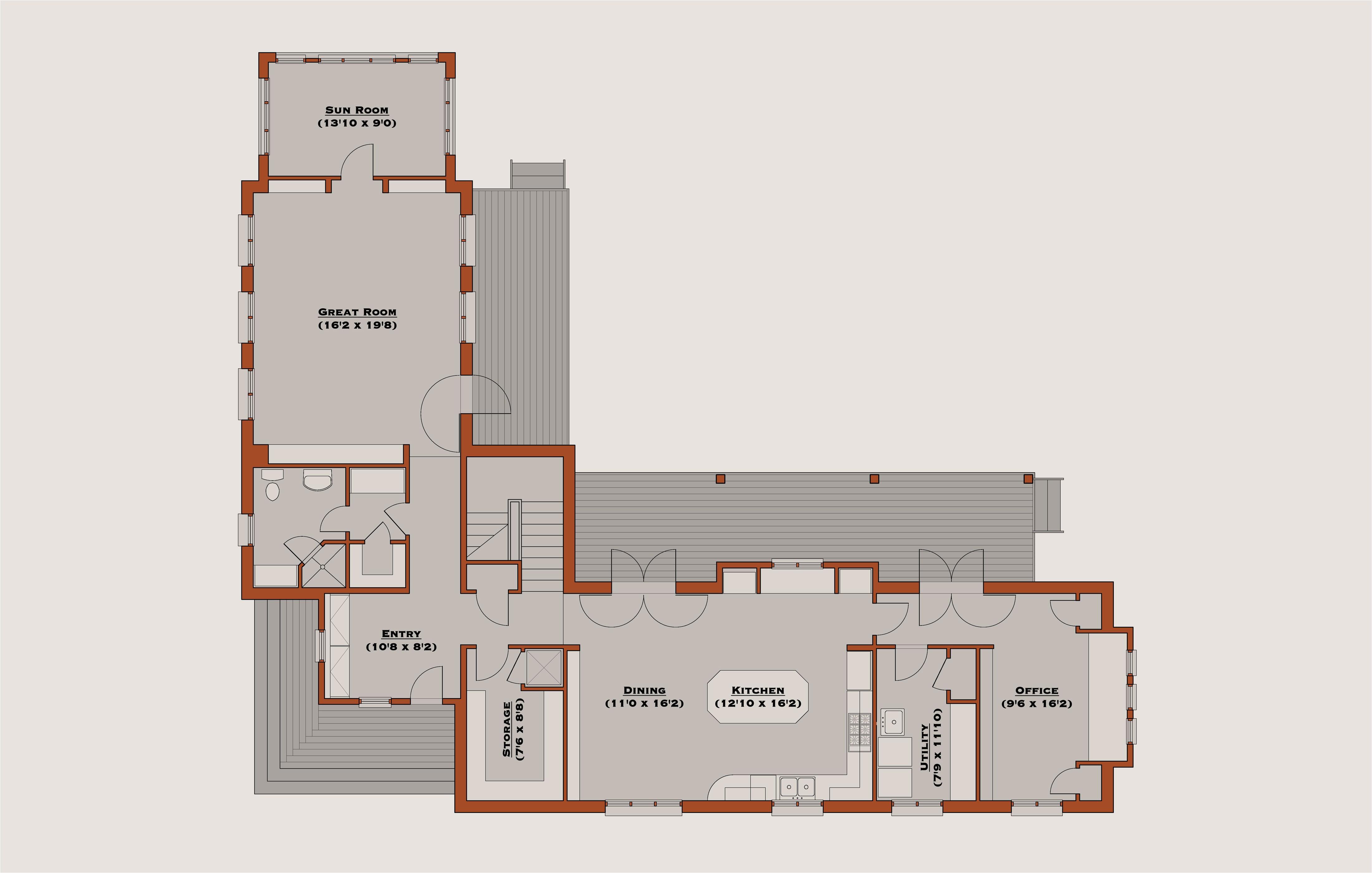 l shaped single story house plans