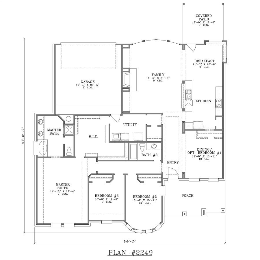 one story house plans with large kitchens