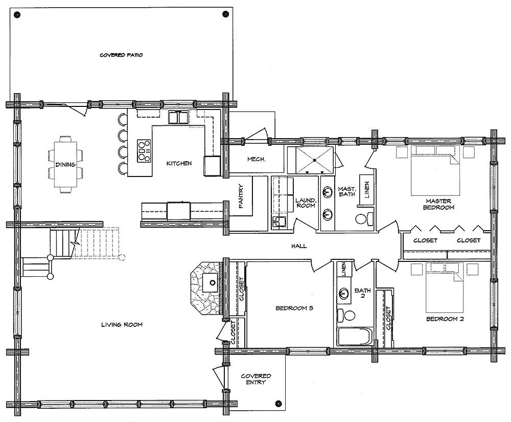 log home open floor plans