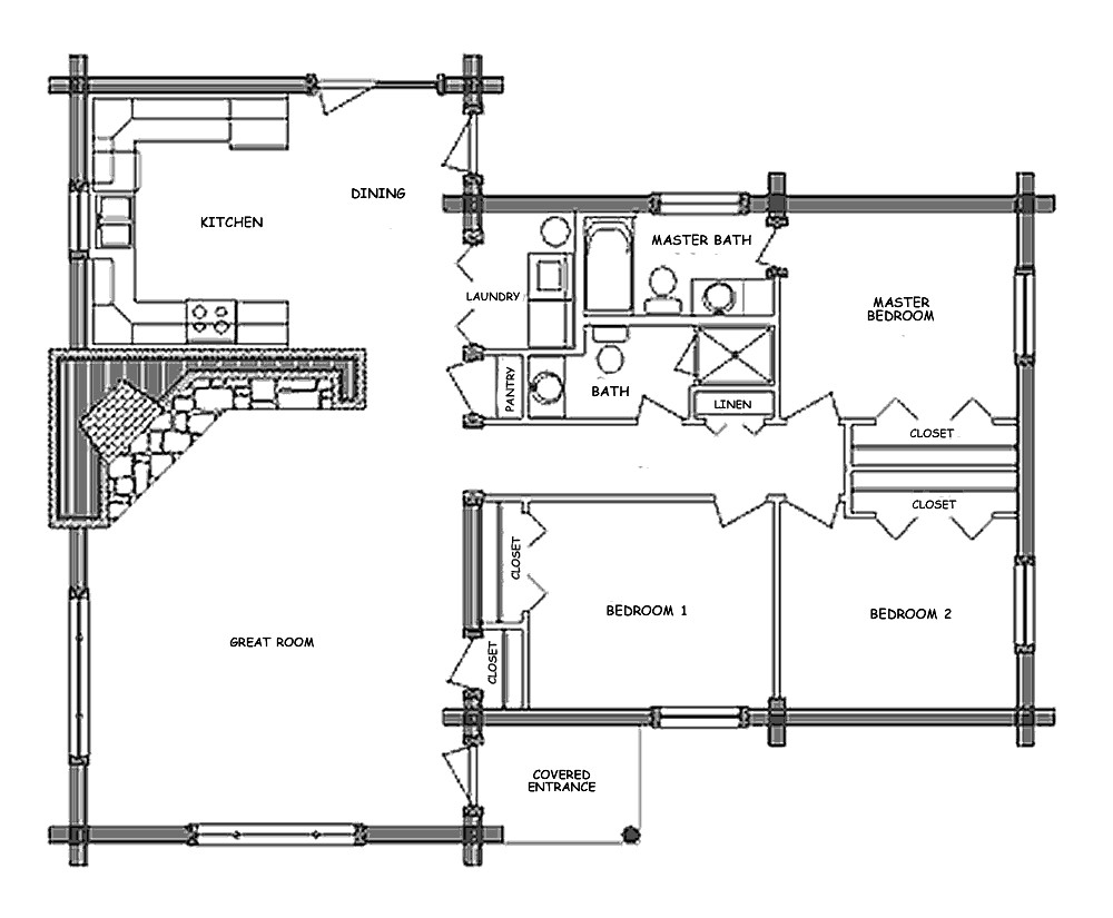 pioneer log home floor plan 44314