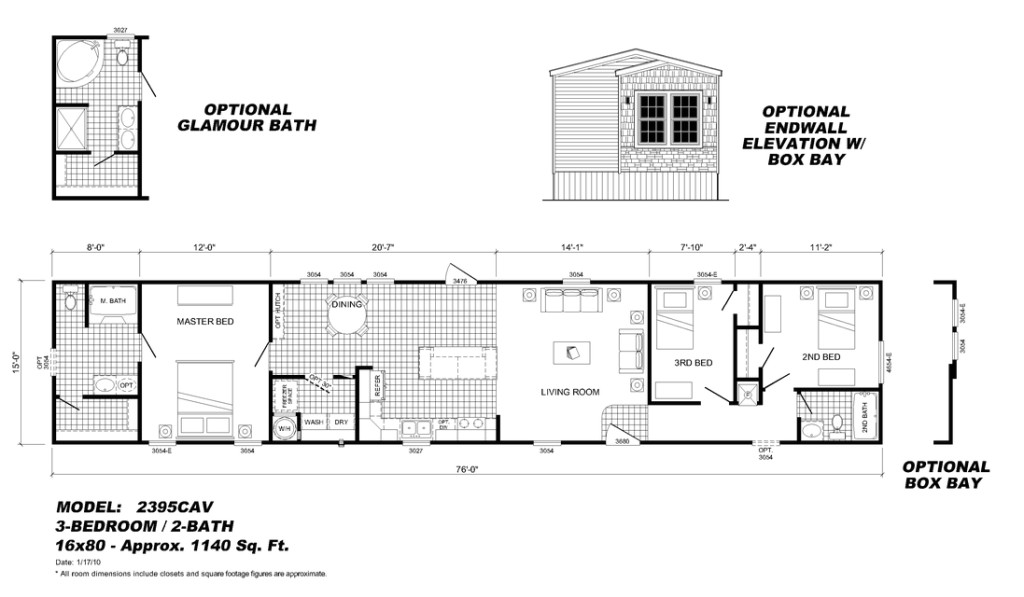 mobile home floor plans 16x80