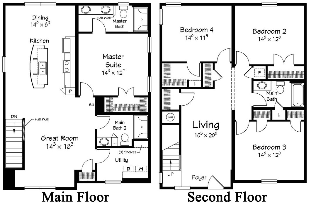 two story house floor plans