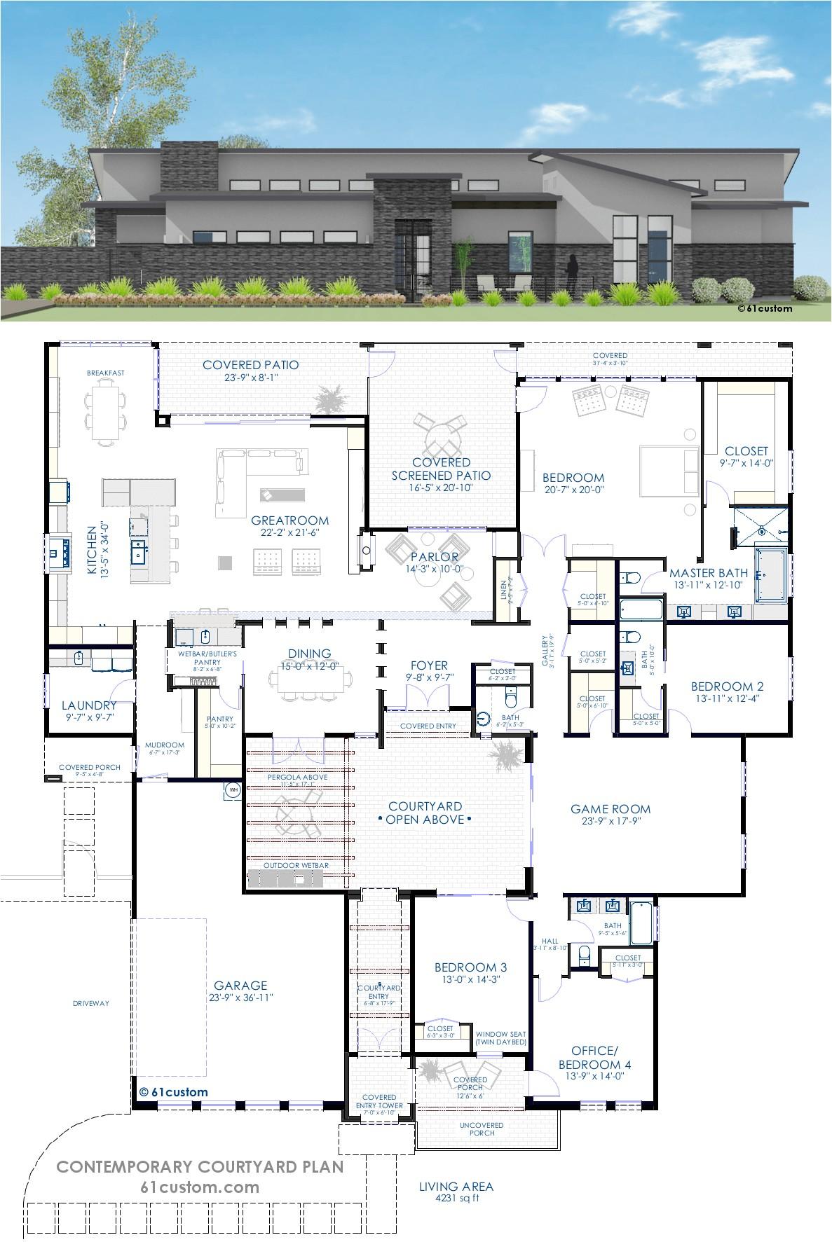contemporary courtyard house plan