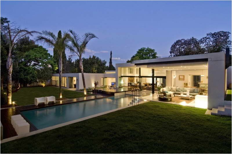 contemporary house plans with pools